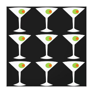 Keep 'Em Coming Martini Stretched Canvas (black)