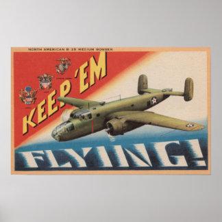 Keep 'Em Flying/B-25 Medium Bomber (Airplane) Poster