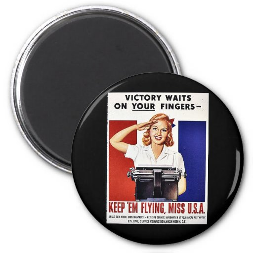 Keep 'Em Flying, Miss U.S.A 2 Inch Round Magnet