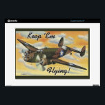 "Keep &#39;Em Flying! World War II Twin Engine Bomber Laptop Decals<br><div class=""desc"">Keep &#39;Em Flying! World War II twin engined bomber vintage post card. The Liberators made a great contribution to Allied victory in the Battle of the Atlantic against German U-boats.</div>"