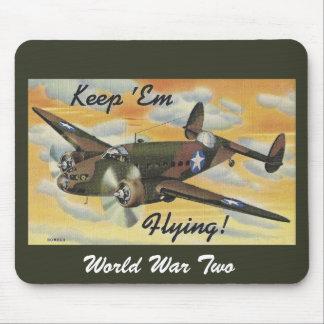 Keep 'Em Flying! World War II Twin Engine Bomber Mouse Pad