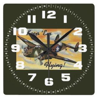 Keep 'Em Flying! World War II Twin Engine Bomber Square Wall Clock