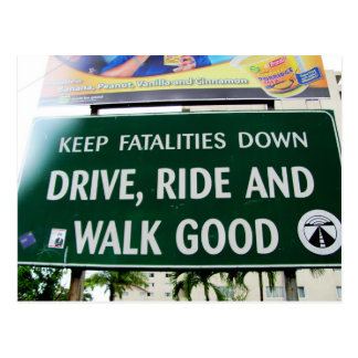 Keep Fatalities Down Jamaican Sign Postcard