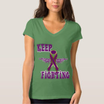 Keep Fighting Pancreatic Cancer Ladies V-Neck T T-Shirt