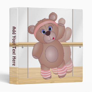 Keep Fit Aerobics Teddy Bear Binder in Girly Pinks