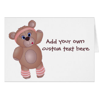 Keep Fit Aerobics Teddy Bear in Girly Pinks Card