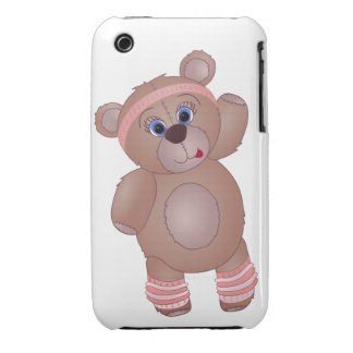 Keep Fit Aerobics Teddy Bear in Girly Pinks iPhone 3 Covers