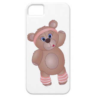 Keep Fit Aerobics Teddy Bear in Girly Pinks iPhone 5 Cover