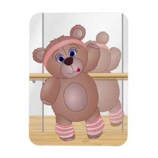 Keep Fit Aerobics Teddy Bear in Girly Pinks Magnet