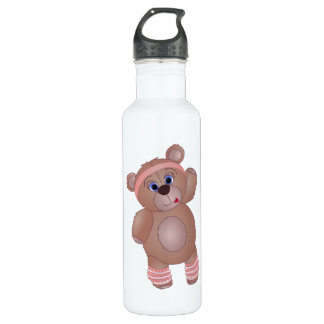 Keep Fit Aerobics Teddy Bear in Girly Pinks Water Bottle