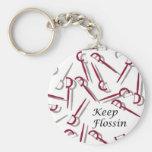 Keep Flossin by Matt Landon Basic Round Button Keychain