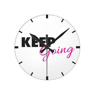 Keep Going - Inspirational Workout Saying Round Wall Clocks