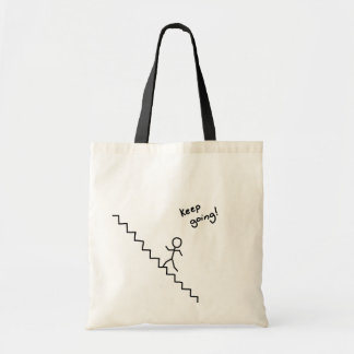 """""""Keep going"""" stick man on the stairs bag"""