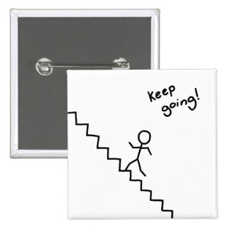 """""""Keep going"""" stick man on the stairs button"""