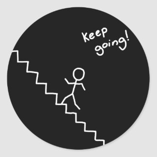 """keep going"" stick man on the stairs sticker"