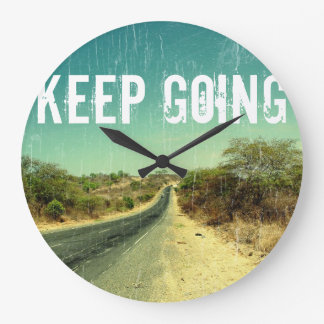 """Keep going"" vintage photo of a road Large Clock"