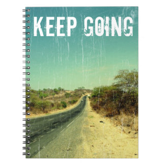 Keep going vintage photo of a road spiral notebook