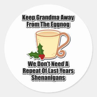 Keep Grandma Away From The Eggnog Classic Round Sticker