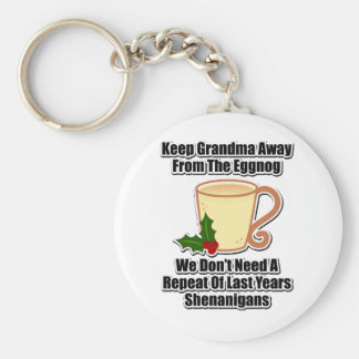 Keep Grandma Away From The Eggnog Basic Round Button Keychain