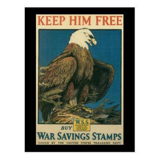 Keep Him Free World War II Postcard