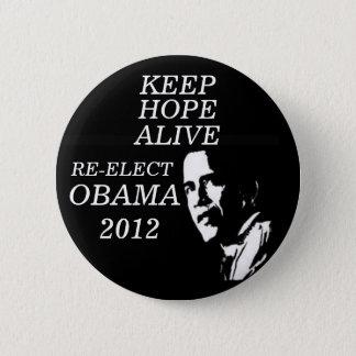 KEEP HOPE ALIVE OBAMA 2012 PINBACK BUTTON