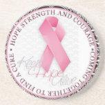 keep hope alive pink ribbon breast cancer beverage coaster
