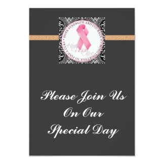 keep hope alive pink ribbon breast cancer 5x7 paper invitation card