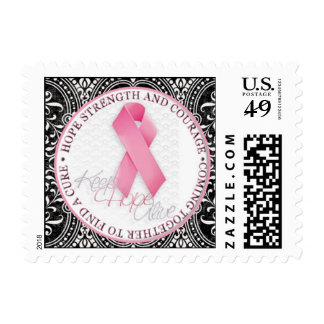 keep hope alive pink ribbon breast cancer postage
