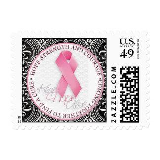 keep hope alive pink ribbon breast cancer postage stamp