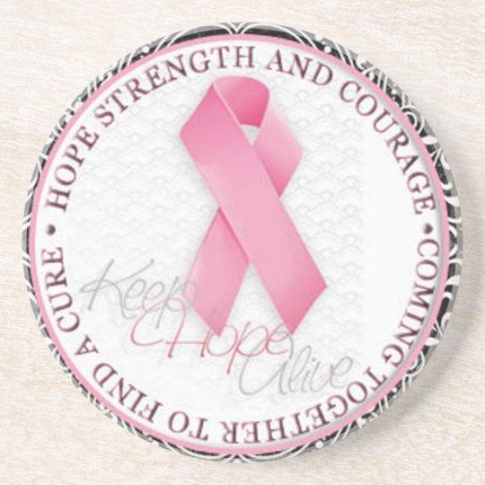 keep hope alive pink ribbon breast cancer sandstone coaster