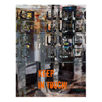 keep in touch pay phone keypad collage postcard