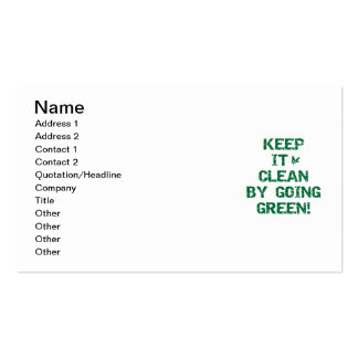 Keep it Clean By Going Green Tshirts and Gifts Business Card