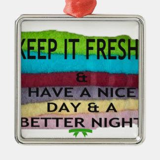 keep it freesh square metal christmas ornament