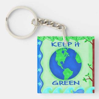 Keep It Green Environmental Square Keychain