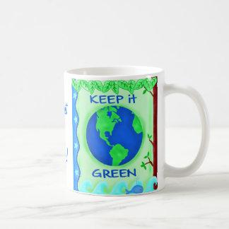 Keep It Green Save Earth Environment Art Coffee Mug