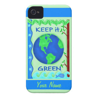 Keep It Green Save Earth Environment Art Custom iPhone 4 Case