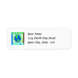 Keep It Green Save Earth Environment Art Label
