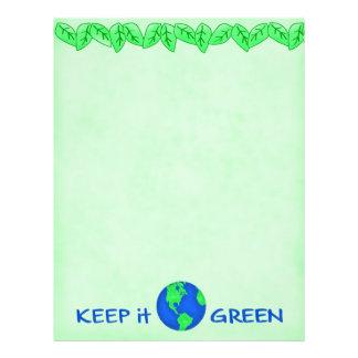 Keep It Green Save Earth Environment Art Letterhead