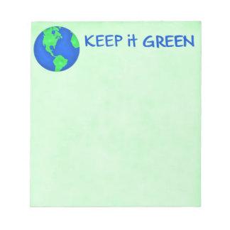 Keep It Green Save Earth Environment Art Notepad
