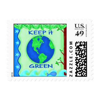 Keep It Green Save Earth Environment Art Postage Stamp