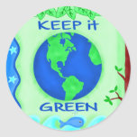 Keep It Green Save Earth Environment Art Round Stickers