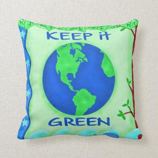 Keep It Green Save Earth Environment Art Throw Pillow