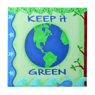 Keep It Green Save Earth Environment Art Small Square Tile