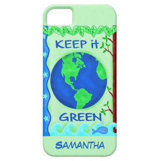 Keep It Green Save Earth Name Personalized iPhone SE/5/5s Case
