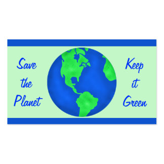 Keep It Green Save Planet Earth Environment Art Double-Sided Standard Business Cards (Pack Of 100)
