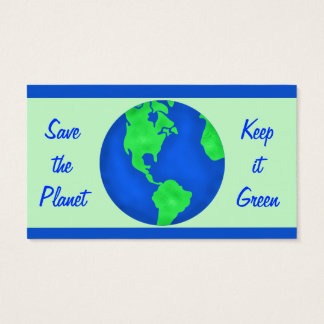 Keep It Green Save Planet Earth Environment Art Business Card