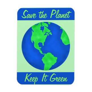 Keep It Green Save Planet Environment Art Custom Rectangular Photo Magnet