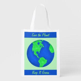Keep It Green Save Planet Environment Art Custom Reusable Grocery Bag