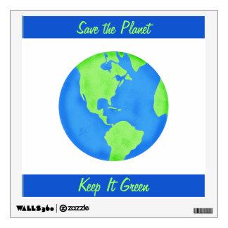 Keep It Green Save Planet Environment Art Custom Wall Stickers