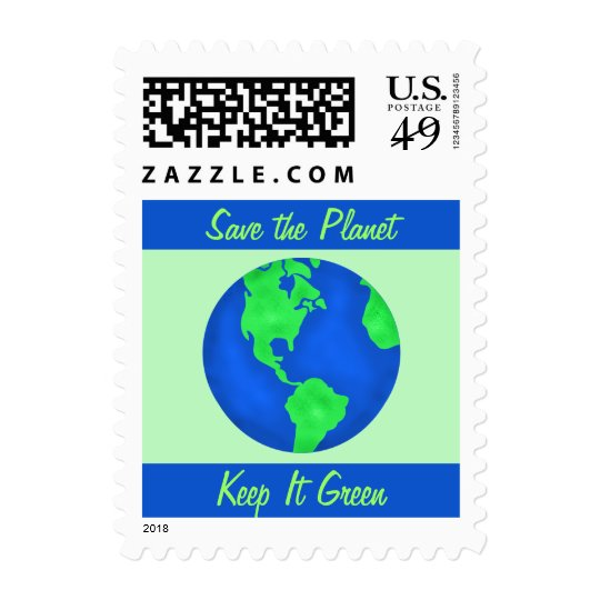 Keep It Green Save the Planet Environment Art Postage